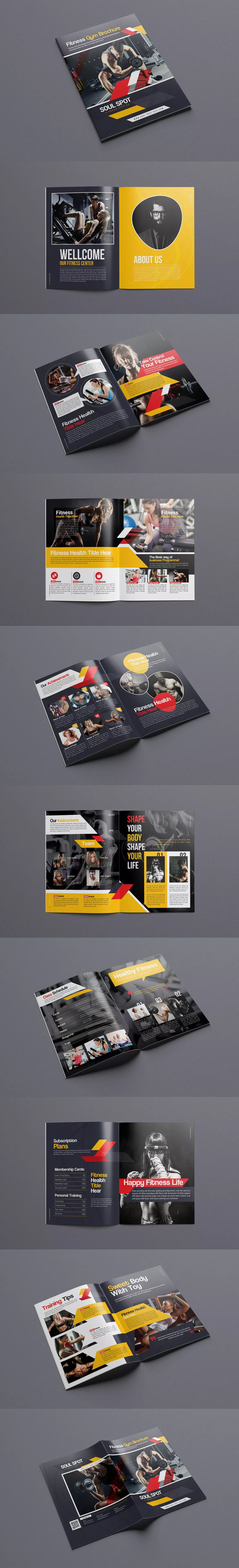 Fitness - Gym Bifold Brochure Template InDesign INDD - US Letter Size