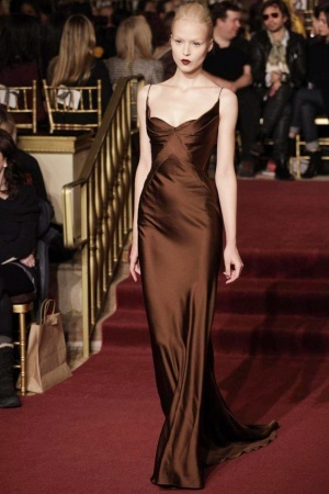 Zac Posen Fall 2013 chocolate satin gown