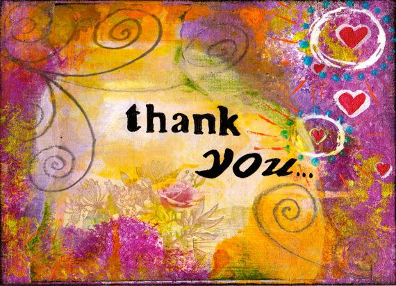 Whimsical Thank You 5x7 Blank Greeting Card by KathleenTennant, $5.00