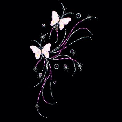8x16  - LARGE PINK FLYING BUTTERFLIES - STONES, STUDS & EMBROIDERY - butterflies, Embroidery, Pink, pink butterfiles, rhinestones, rhinestuds, stones, studs, Material Transfer, Butterflies