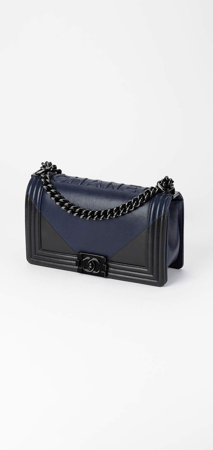 CHANEL - Navy blue & black Boy Chanel Handbag