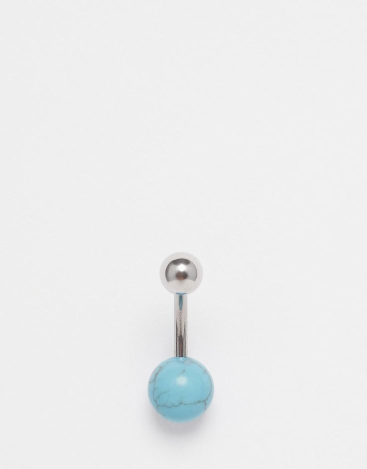 Belly bar by ASOS Collection Silver-tone finish Bead embellishment Slim curved bar Screw top closure Avoid contact with liquids 60% Semi Precious Stone, 40% Stainless Steel