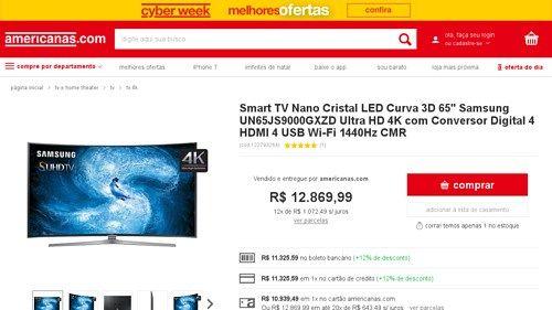 [Americanas.com] Smart TV Nano Cristal LED Curva 3D 65 ´ Samsung UN65JS9000GXZD Ultra HD 4K com Conversor Digital 4 HDMI 4 USB Wi - Fi…