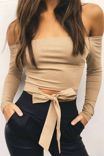 Khaki Bow Tie Design Off The Shoulder Long Sleeves Top