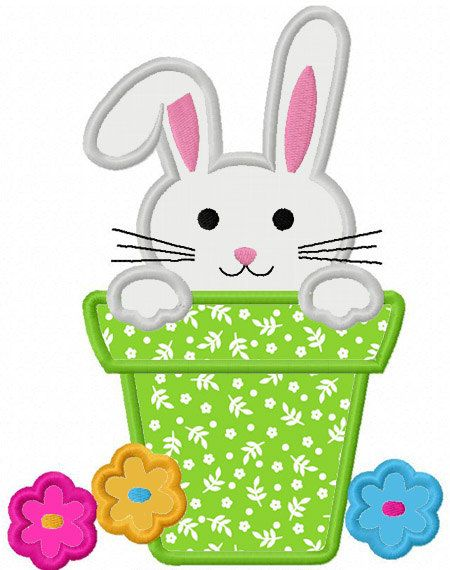 Easter Bunny In Pot Applique Machine by JoyousEmbroidery on Etsy, $2.99