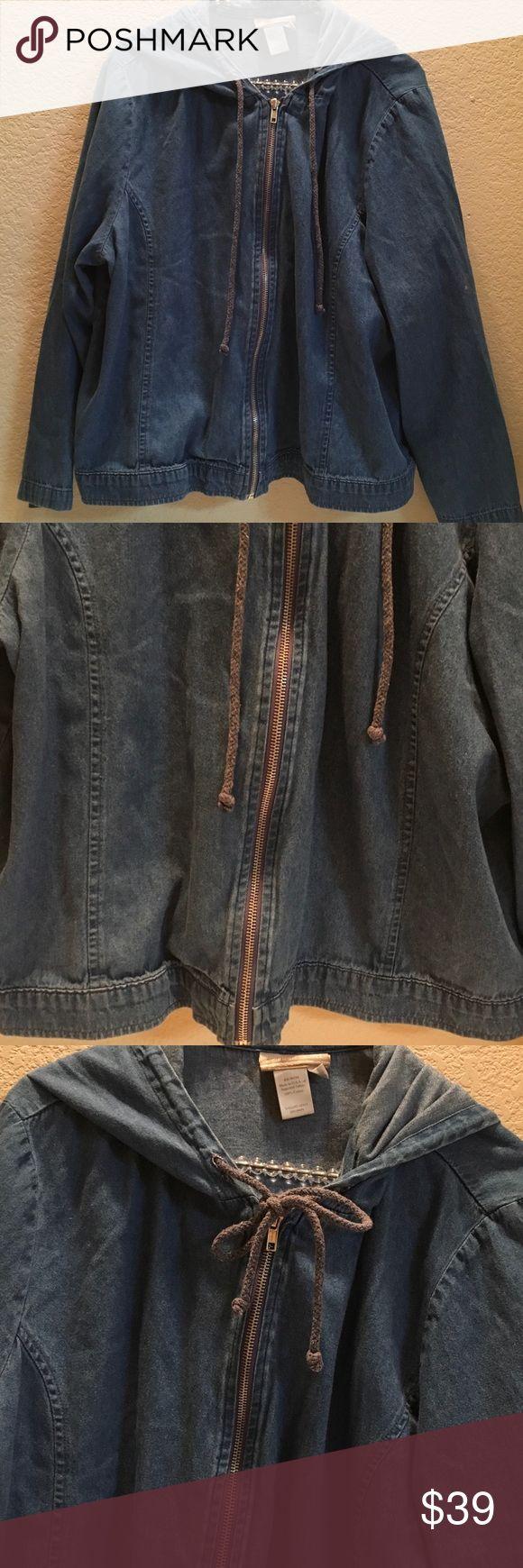 "COLDWATER CREK Medium Denim wash zipup hoody PL Great versatile zip up jacket ties at neckline. Medium wash denim, long sleeved hoody Seams ru. Down front sides for flattering fit. 100% Cotton, no pockets... PETITE LARGE PL...23 3/4"" pit - pit.....22""shoulder - edge.  Very good condition. 🍁🎂🍁🎂🍁🎂 Coldwater Creek Jackets & Coats"