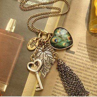 Min.order is $10 (mix order) Free Shipping Love Peacock Feather Leaves Key Tassel Necklace  N200 $0.99