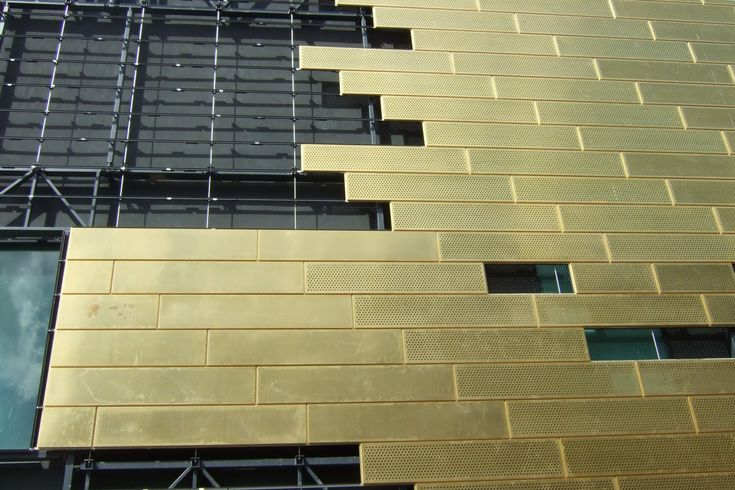 perforated gold metal panels
