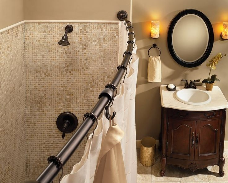 Adjustable Length Curved Shower Rod Set In Old World Bronze