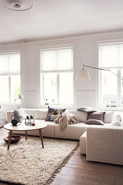 Homes: Danish: Different tones of white in the living room//