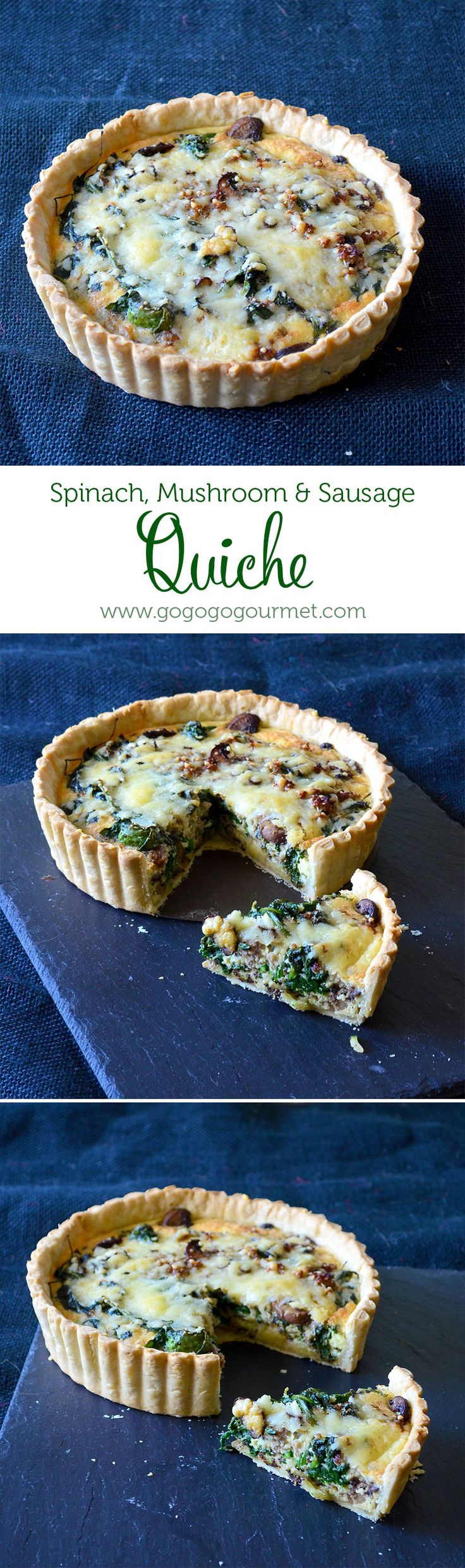 Weekend Brunch: Spinach, Mushroom & Sausage Quiche | Go Go Go Gourmet