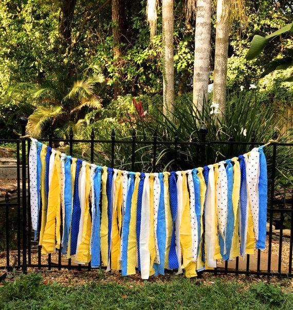 Minion Inspired Rag Garland/Garland/Room Decor/Photo Prop/Shower Decoration/Blue,White,Yellow Baby Shower/ Gender Reveal