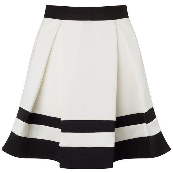 Ariana Grande For Lipsy Stripe Mini Skater Skirt (€48) ❤ liked on Polyvore featuring skirts, mini skirts, bottoms, saias, lipsy, mini skirt, striped mini skirt, stripe skirt and circle skirt