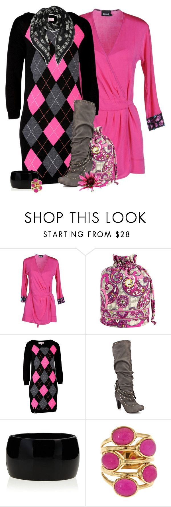 """""""Style These Boots"""" by tacciani ❤ liked on Polyvore featuring Just Cavalli, Vera Bradley, Juicy Couture, Not Rated, Kenneth Jay Lane, Isharya and Alexander McQueen"""