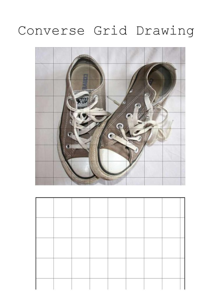Converse Shoe Grid Drawing