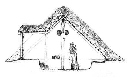 Egyteres Árpádkori veremház keresztmetszete