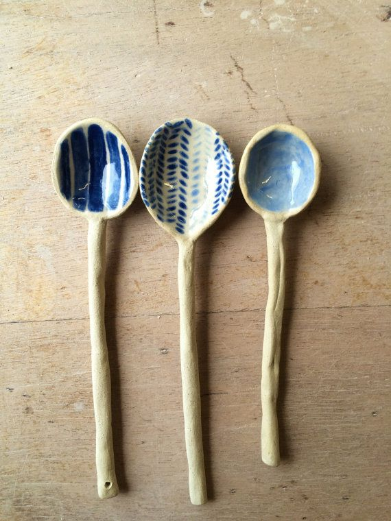 Handmade Ceramic Spoon Handpainted Herringbone Pattern in Blue and White