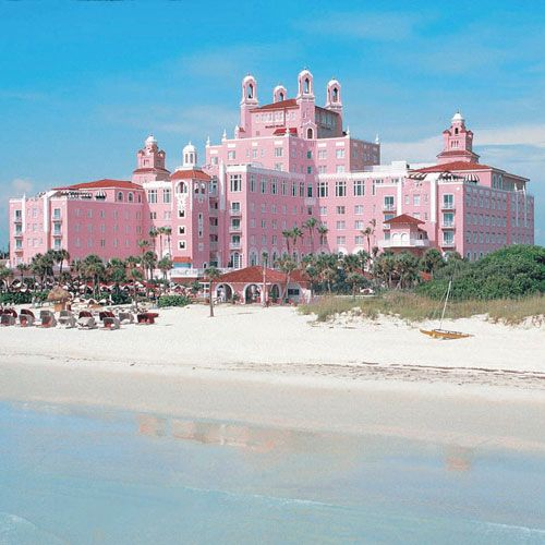 The Don Cesar Hotel in St. Pete Beach Florida. It's right by my Granny's house and it has the best ice cream place ever in it!