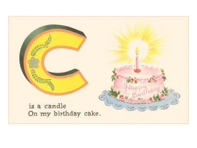 C is for the candle on my birthday cake. #vintage #alphabet #birthdays