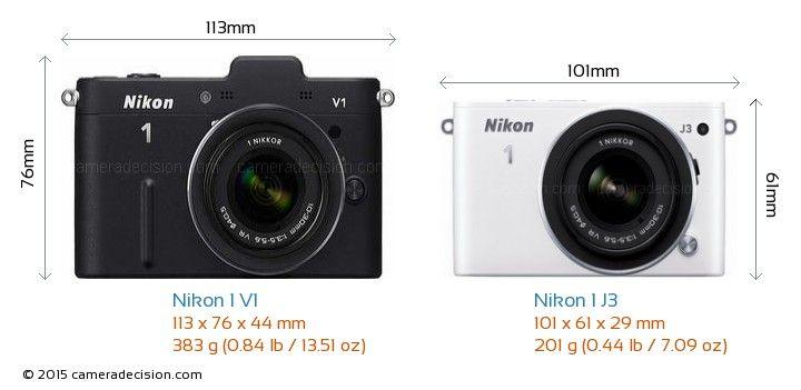 Nikon 1 V1 vs Nikon 1 J3 Camera Size Comparison - Front View