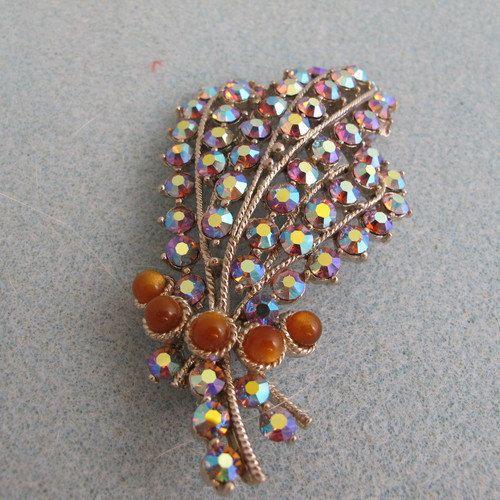 Stunning Vintage Brooch, Rows of Aurora Borealis Crystals by DesignerShowcase on Etsy