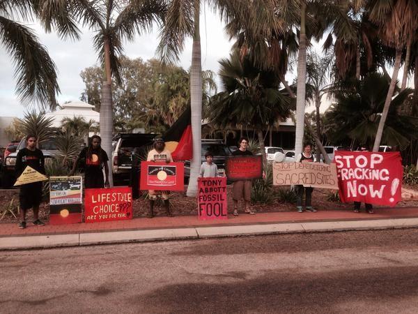 .@DerschowB Broome protest against Abbott @KREDEnterprises