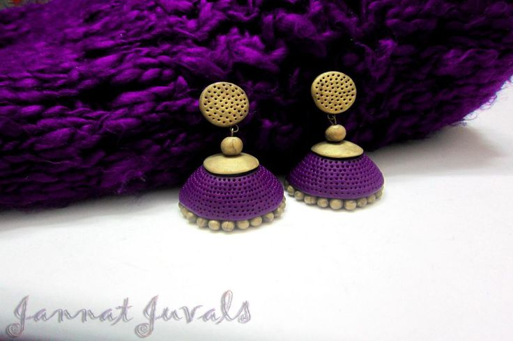 Violet and Antique Golden Jhumka | Terracotta, Jhumka, Purple Earrings | Indiebazaar