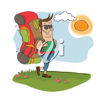 iCLIPART - Clip art illustration of a tourist traveling with a backpack during his summer vacation.