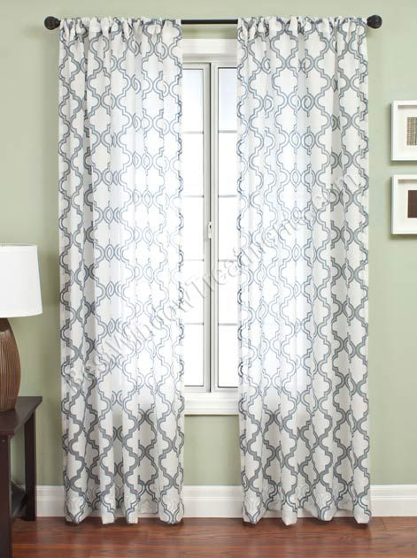 funky and p white patterned curtains blue sheer