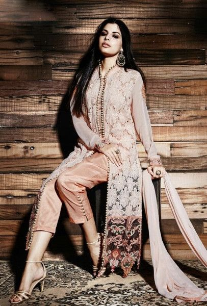 Peach designer embroidered trouser suit with dupatta