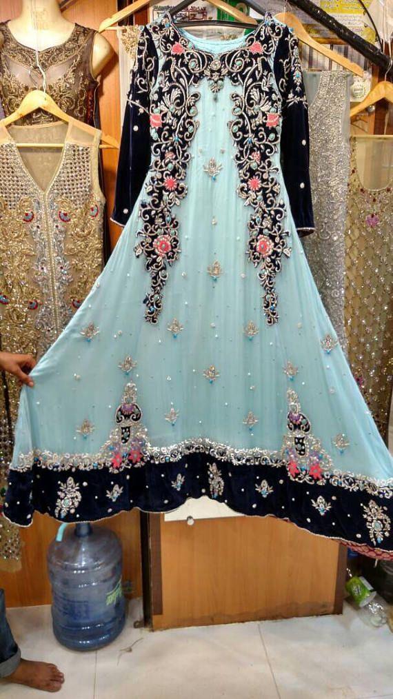 Robe Maxi Bleu Mariage Pakistanais Formelle Mousseline De