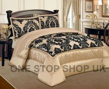 Luxurious 3 Pcs Flock Quilted Bedspread / Comforter Set - BEIGE WITH BLACK - RV Your Price: £25.99 + Weight: 4.00 KGS + Shipping: £2.99 (Fixed shipping cost) Product Description: Gives you elegant, stunning and modern design of 3 pcs bedspread with microfiber feather in side and on the top use heavy Microfiber flocking for luxury smooth and soft feel like Velvet. Beautifully & modern flock design Bedspread / Comforter sets.