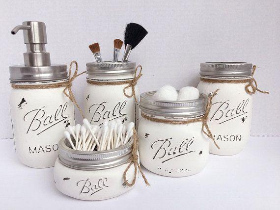 Farmhouse Kitchen Decor Painted Mason Jar Gift Set Country Soap Dispenser