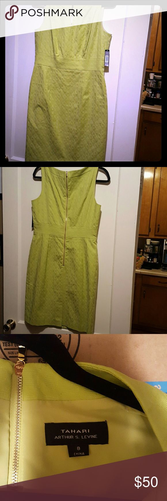 Tahari lime green dress Beautiful lime green color with alternating round designs in fabric as texture. Gold buckle at neck. New with tags! No rips, tears or stains, smoke-free home. This is an absolutely gorgeous item and looks perfectly Polished! Tahari Dresses Midi