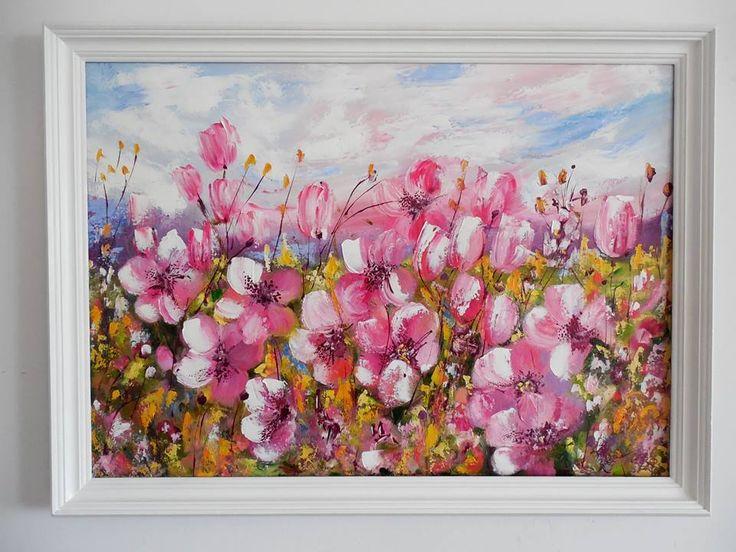 flowers,painting,meadow,oil on canvas,50x70,art,artwork  kwiaty,malarstwo olejne,łąka,różowe kwiaty, lato