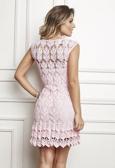 Receitas Círculo - Vestido Crochê Rosa