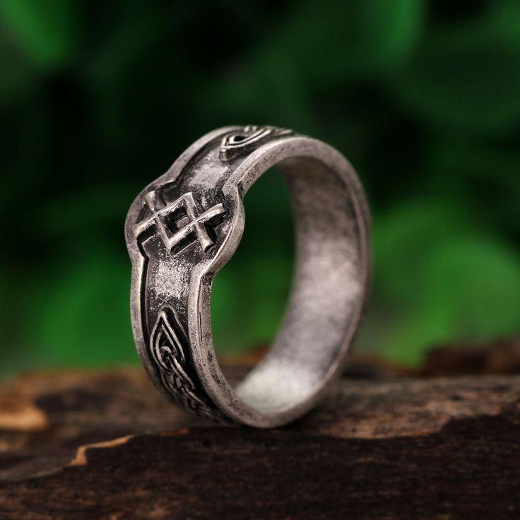 Valknut Odin 's Symbol Of Norse Viking Warriors Men's Silver Ring Punk Gothic