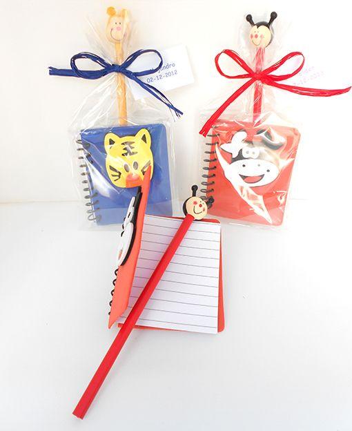 Bolsa regalo con libreta tapas eva y l piz cabeza - Regalos para los invitados ...