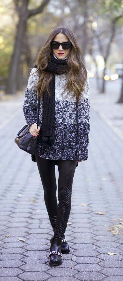 Oversized Sweater +  Faux Black Leather Leggin + Chain Booties