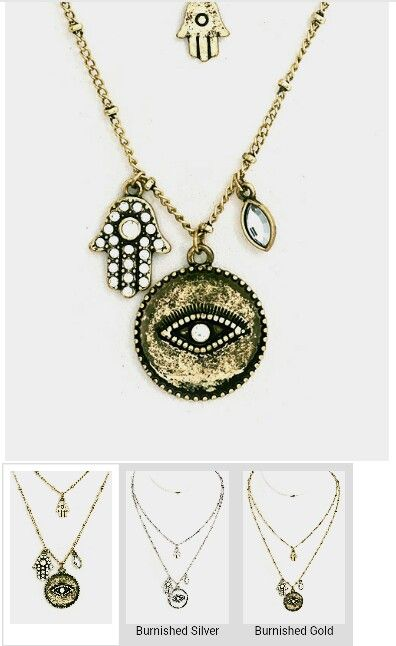 Hamsa and evil eye charm necklace