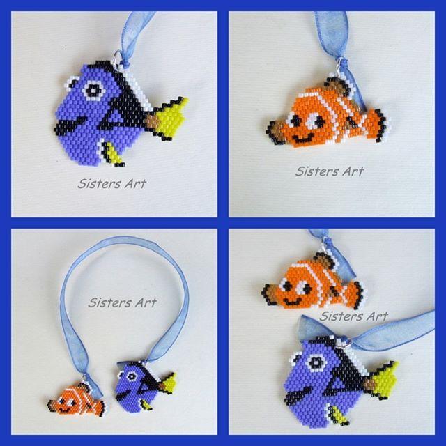 """Segnalibro """"Dory e Nemo"""" realizzato con perline delica utilizzando la tecnica…"""