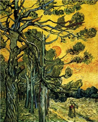 Pine Trees against a Red Sky with Setting Sun 1889. Vincent van Gogh