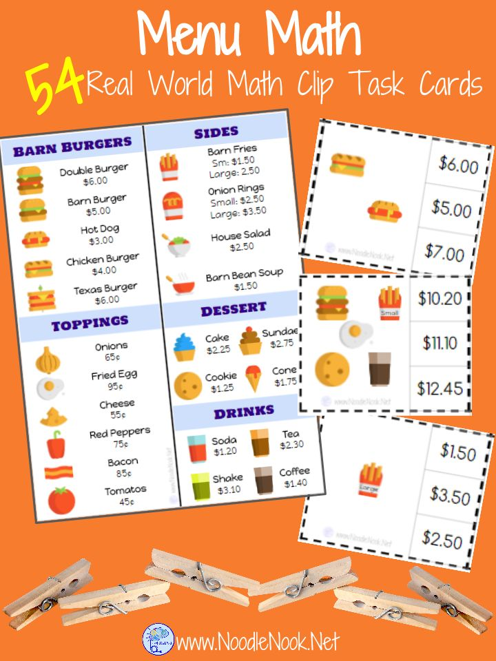 Menu Math Clip Cards for Special Education. Perfect for Money Math Centers and High Interest too!
