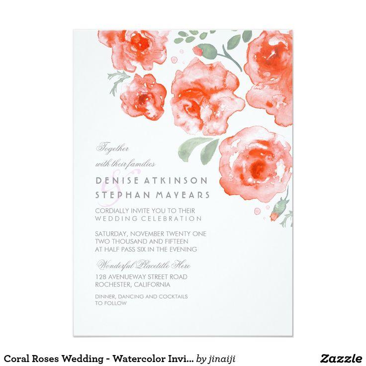 Coral Roses Wedding   Watercolor Invitations