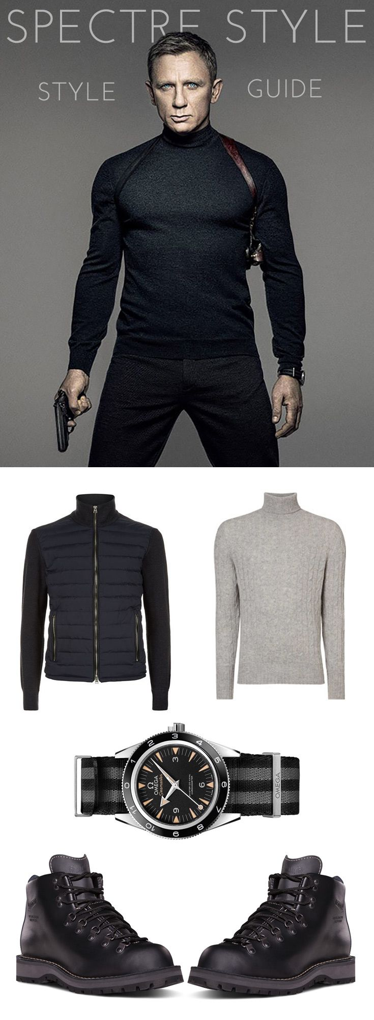 The ultimate guide to shopping the looks from Spectre, the latest Bond film.  James Bond Spectre watch and clothes from the movie.