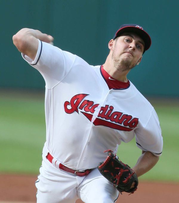 Cleveland Indians Trevor Bauer pitching against the Oakland Athletics  at Progressive Field, Cleveland, Ohio, on May 30, 2017. (Chuck Crow/The Plain Dealer). Indians won 9-4.