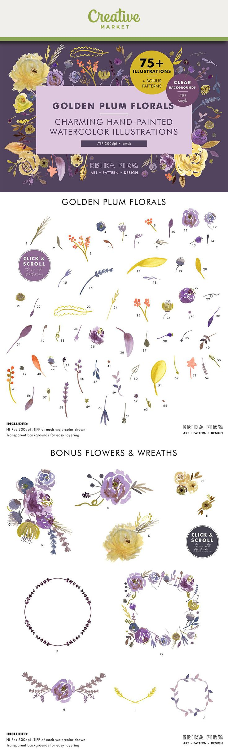 Affiliate | This set of charming hand-painted watercolor floral illustrations comes with flowers, leaves and stems for endless combinations. The set includes pretty watercolor flowers, watercolor stems, watercolor leaves, watercolor berries, and watercolor bouquets in plum, violet, lavender, purple, golden yellow, and chartreuse. All illustration files have transparent background for easy and fun layering. You'll also get bonus floral bouquets, combined flowers, and wreaths.