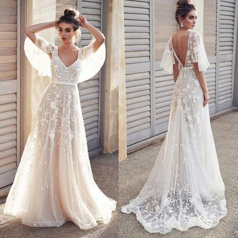 Elegant Lace Prom Dresses, V-Neck Short Sleeve Prom Dresses,Claaical Appliques Evening Dresses.383