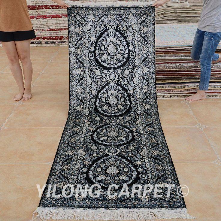 Yilong 2.8'x8' Persian silk carpet runner …