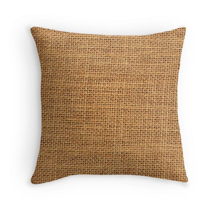 Sackcloth material Throw Pillows